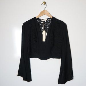 Makers Of Dreams Boho Lace Crop Top Bell Sleeve S